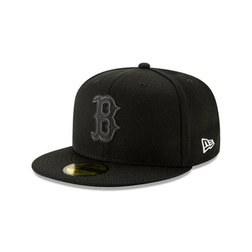 New Era Black Fitted Hats - Boston Red Sox Mlb Clubhouse Collection Blk 59fifty - Canada 410YQJW