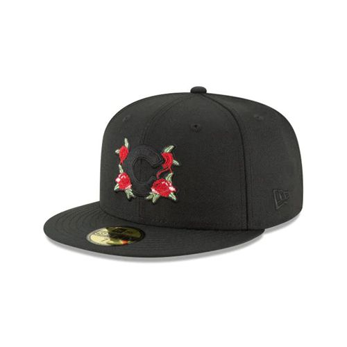 New Era Black Fitted Hats - Floral Pack Chicago Cubs Blk 59fifty - Canada 247GURV