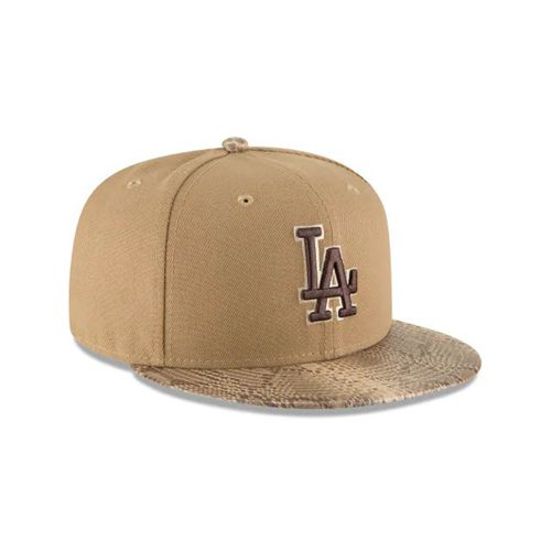 New Era Brown Fitted Hats - Los Angeles Dodgers Mlb Snakeskin Khaki 59fifty - Canada 190HKLY